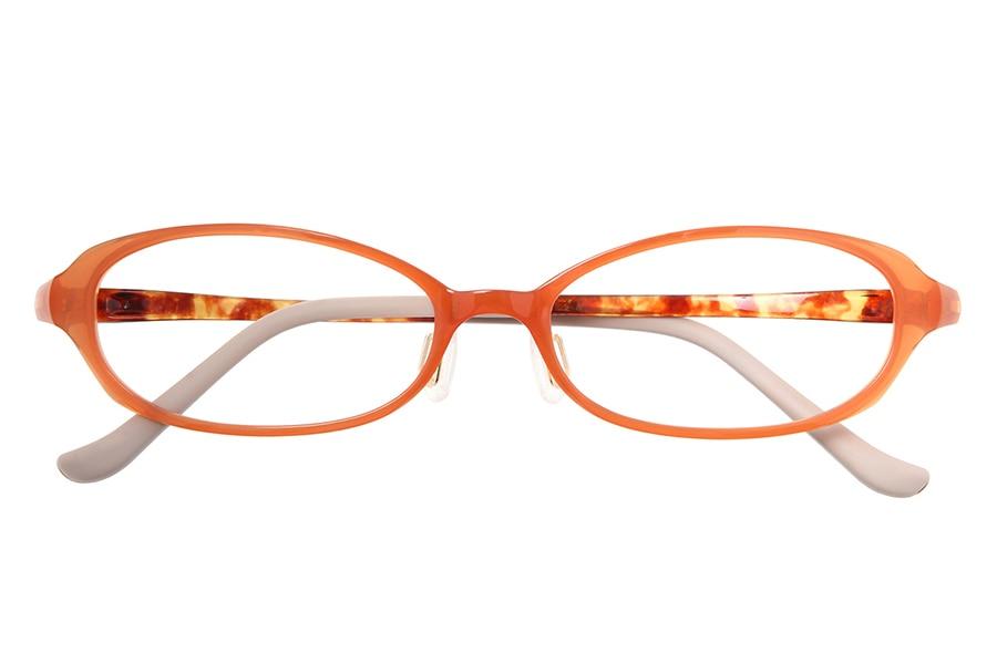 オレンジ オーバルのメガネ